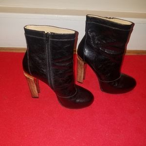 Nine West Patton leather boots.  Wood heal.